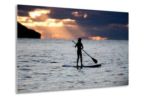 A Young Girl on a Stand Up Paddle Board on Baleia Beach at Sunset-Alex Saberi-Metal Print