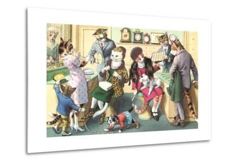 Crazy Cats at the Jewelry Store--Metal Print