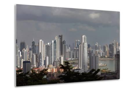 The Skyline of Panama City, Capital of Panama Glistens in the Sun Above the Pacific Ocean-Steve Raymer-Metal Print