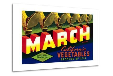 Crate Label for March Vegetables--Metal Print