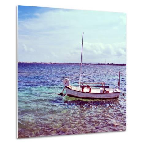 Picture of a Fishing Boat in Estany Des Peix Lagoon, in Formentera, Balearic Islands, Spain-nito-Metal Print