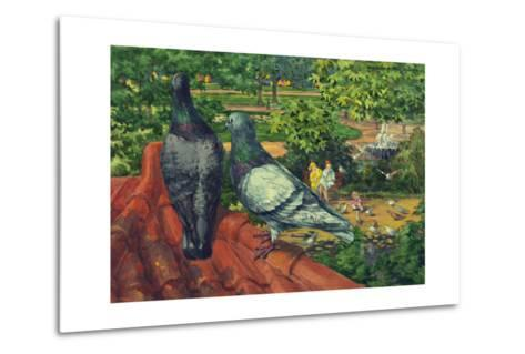 Two Park Pigeons Sit on Top of a Roof-Hashime Murayama-Metal Print