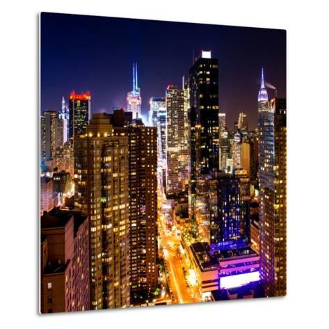 View of Skyscrapers of Times Square and 42nd Street at Night-Philippe Hugonnard-Metal Print