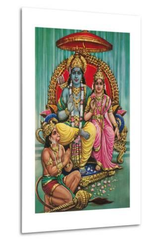 Shiva and Parvati with Hanuman--Metal Print