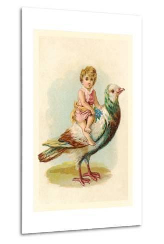 Child Riding Large Bird--Metal Print
