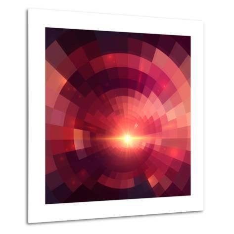 Abstract Red Shining Circle Tunnel Background-art_of_sun-Metal Print