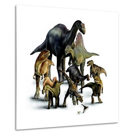 A Composite of Dinosaurs That Lived in the Southern Hemisphere-Pixeldust Studios-Metal Print