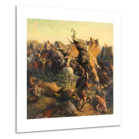A Painting Depicts Alexander the Great Battling an Indian Army-Tom Lovell-Metal Print
