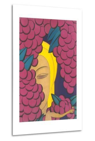 Woman with Grapes--Metal Print