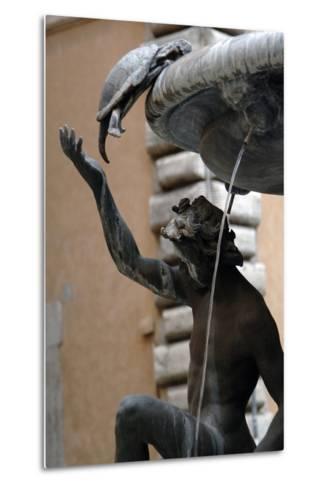 The Turtle Fountain. Detail. Turtle and Bronze Ephebe.16th Century. Rome. Italy-Giacomo della Porta-Metal Print