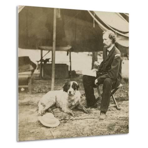 General Custer (1839-76) at His Headquarters, C.1864-Mathew Brady-Metal Print