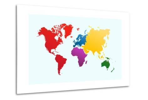 Colorful World Map-cienpies-Metal Print