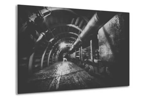 Underground Train in Mine, Carts in Gold, Silver and Copper Mine.-irontrybex-Metal Print