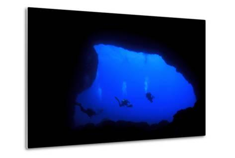 Into Darkness: Underwater Cave Scuba Diving Silhouettes-Rich Carey-Metal Print