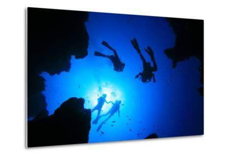 Scuba Divers about to Descend into an Underwater Canyon-Rich Carey-Metal Print