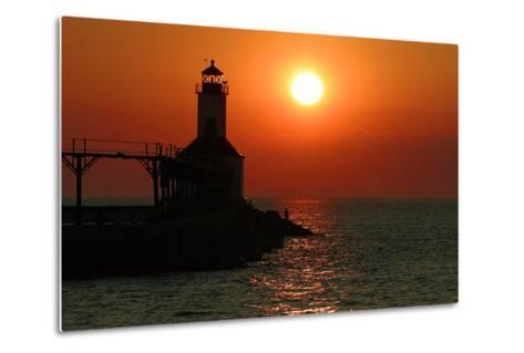 Indiana Dunes lighthouse at sunset, Indiana Dunes, Indiana, USA-Anna Miller-Metal Print