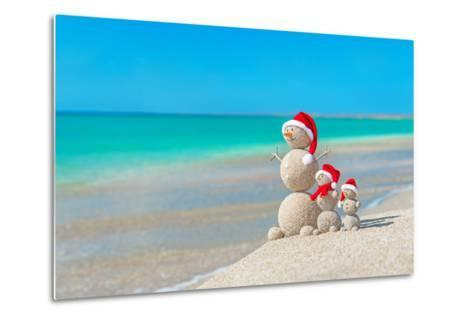 Snowmans Family at Sea Beach in Santa Hat. New Years and Christmas-EMprize-Metal Print