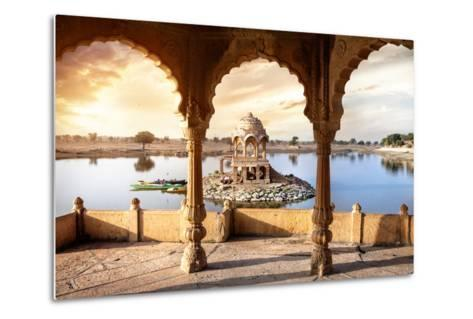 Temple on the Water in India-Marina Pissarova-Metal Print