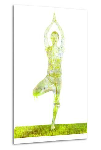 Nature Harmony Healthy Lifestyle Concept - Double Exposure Image of Woman Doing Yoga Tree Pose Asan-f9photos-Metal Print