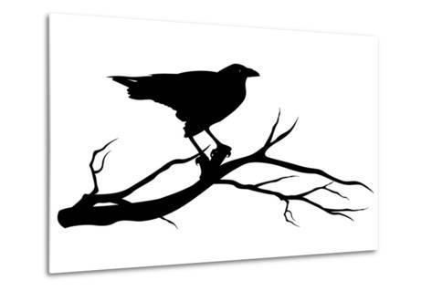 Raven Bird Silhouette-Cattallina-Metal Print