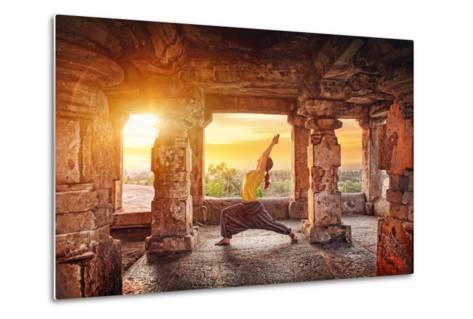 Yoga in Hampi Temple-Marina Pissarova-Metal Print