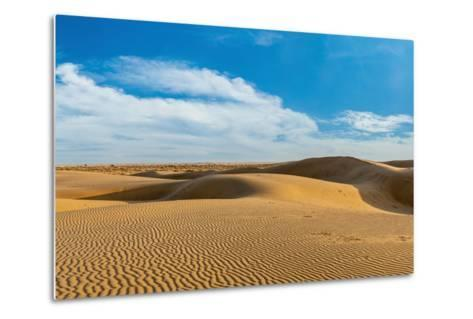 Panorama of Dunes Landscape with Dramatic Clouds in Thar Desert. Sam Sand Dunes, Rajasthan, India-f9photos-Metal Print