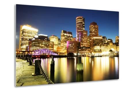 Boston Skyline with Financial District and Boston Harbor-Roman Slavik-Metal Print
