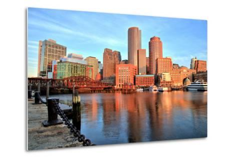 Boston Skyline with Financial District and Boston Harbor at Sunrise-Roman Slavik-Metal Print