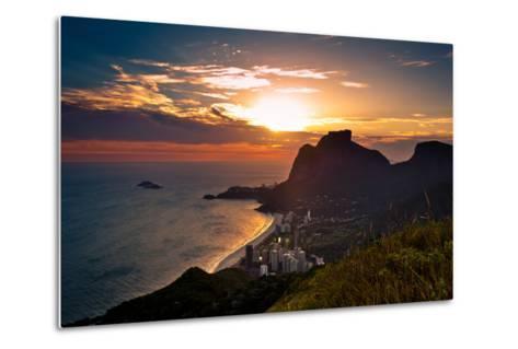 Sunset behind Mountains in Rio De Janeiro-dabldy-Metal Print