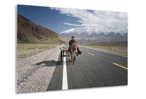 By Donkey on the Karakorum Highway- Reggy-Metal Print