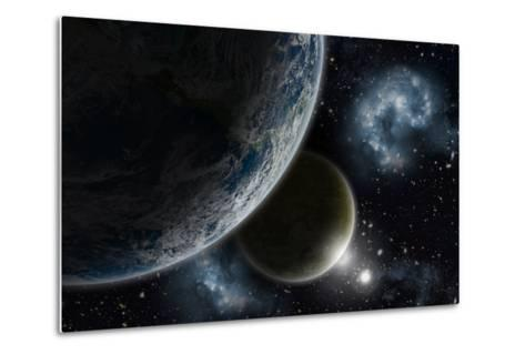 Space Background with Earth and Nebula in Starry Sky - Elements of this Image Furnished by NASA-kjpargeter-Metal Print