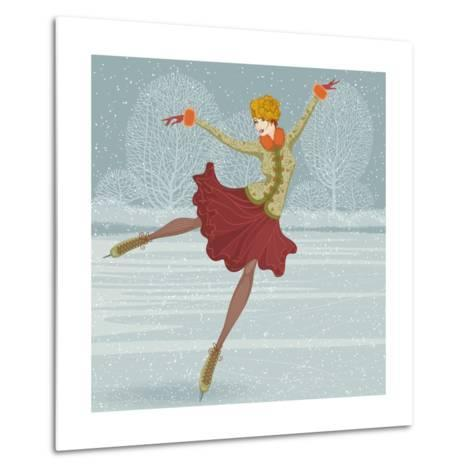 Beautiful Ice Skater-Milovelen-Metal Print