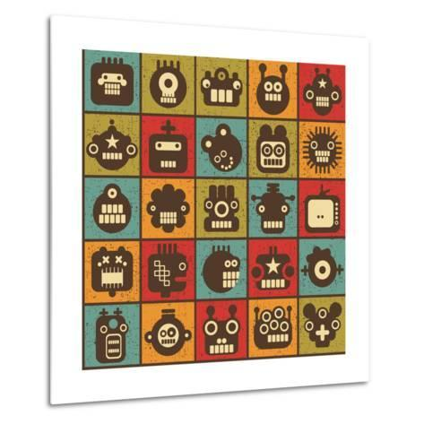 Robot and Monsters Cell Background-panova-Metal Print