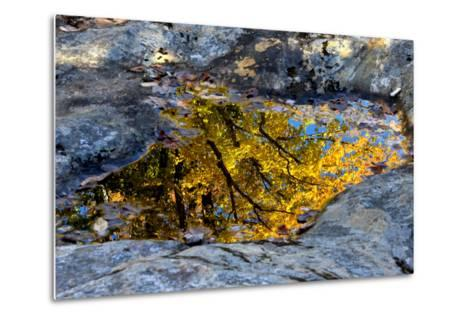 Autumn Colors Reflected in Pools of Water on a Rocky River Bank-Robbie George-Metal Print