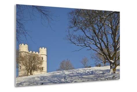 A Snowy Winter View of a Victorian 'Folly' Castle, Haldon Belvedere-Nigel Hicks-Metal Print