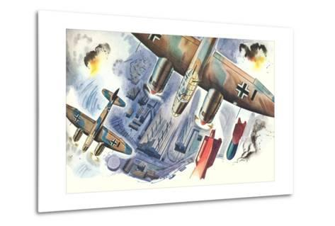 Bombers over Factory--Metal Print