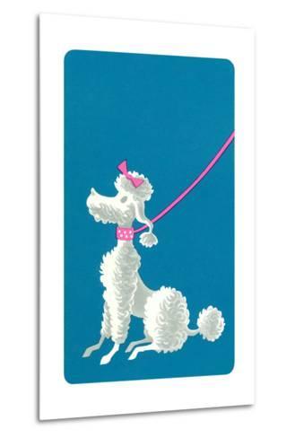 Poodle with Pink Leash--Metal Print