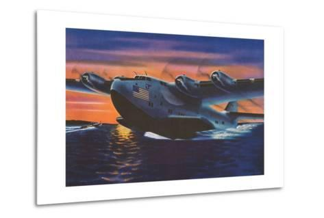 Clipper Plane Taking Off from Water--Metal Print