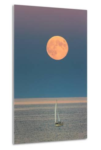 The Harvest Moon Rises over a Sailboat in Casco Bay-Robbie George-Metal Print