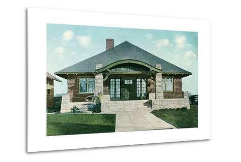 Craftsman House with Rock Pillars--Metal Print