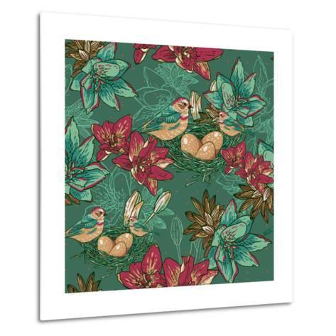 Floral Background with Bird-Varvara Kurakina-Metal Print