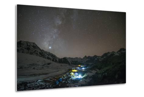 Ama Dablam Base Camp in the Everest Region Glows under Stars with the Milky Way-Alex Treadway-Metal Print