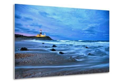 The Montauk Point Lighthouse Shining at Dusk-Robbie George-Metal Print