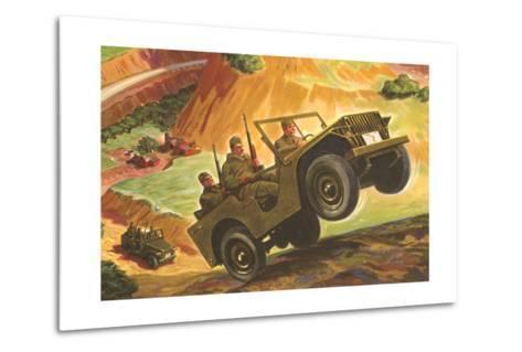 Soldiers in Jeeps--Metal Print