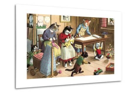Homeschooling Crazy Cats--Metal Print
