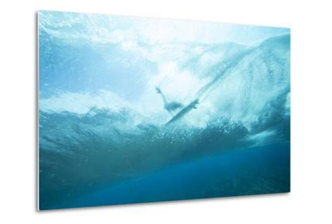 Underwater View of a Surfer on a Surfboard-Andy Bardon-Metal Print