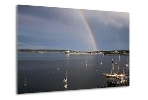 A Double Rainbow Falls over South Portland, Maine on a Summer Day-Robbie George-Metal Print