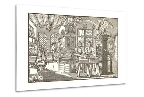 Woodcut of Old Print Shop--Metal Print