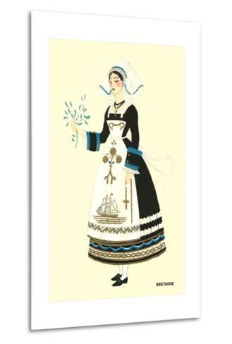 Native Costume of Brittany--Metal Print