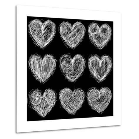 Hearts Chalkboard, Love Background and Texture-homobibens-Metal Print